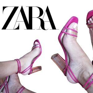 Zara pink strappy transparent heel sandal …